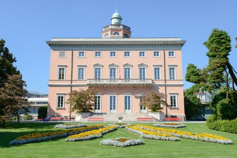 Villa sul parco botanico di Ciani nel centro di Lugano fotografie stock libere da diritti