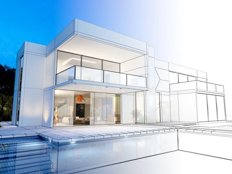 Villa technical rendering stock photography