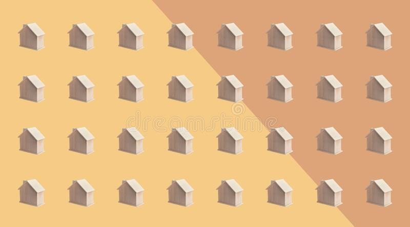 Villa or town concepts with group of wood house mock up on pastel color background.panoramic,horizontal for banner royalty free stock photography