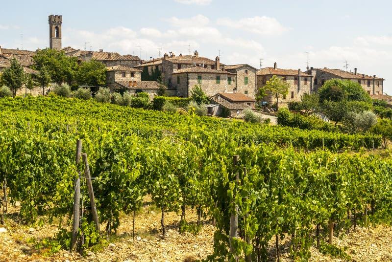 Villa un Sesta (chianti) - le village et les vignobles images libres de droits