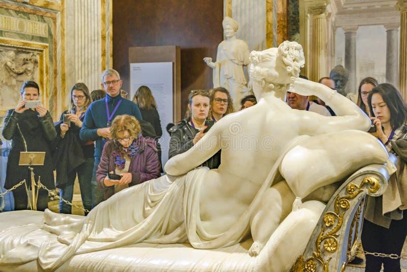 VillaBorghese galleri Pauline Bonaparte Canova Masterpiece royaltyfri bild
