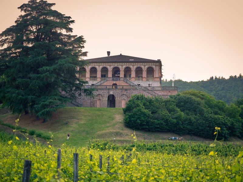 Villadeien Vescovi är en Venetian Renässans-stil villa aktuellt arkivbild