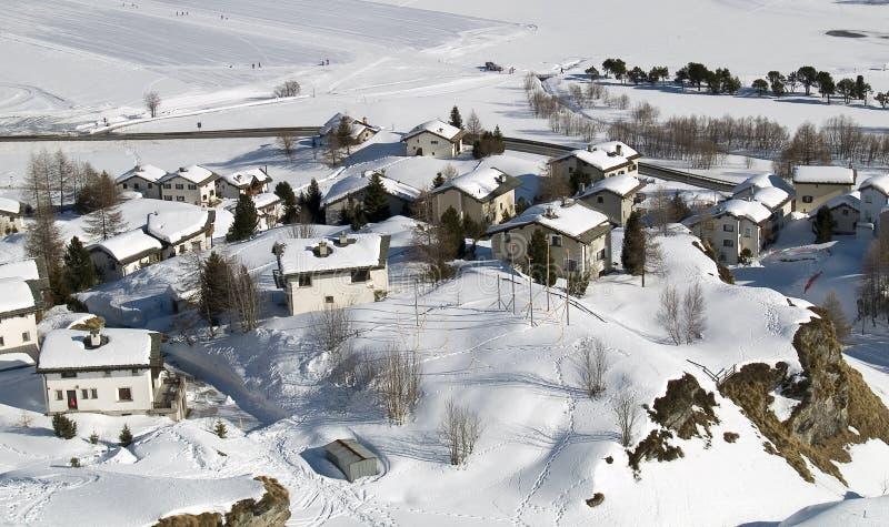 Village. Snowy village in the Alps (switzerland - Maloja stock images