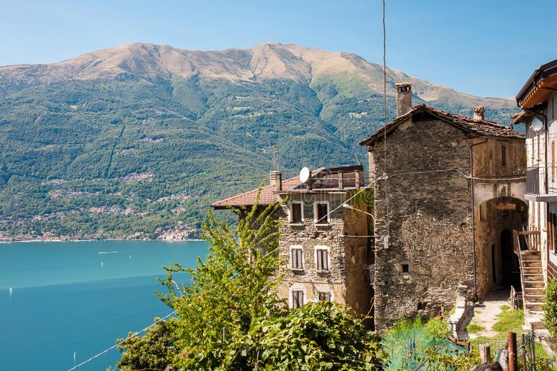 Village above Dervio, Como Lake, Italy stock photography