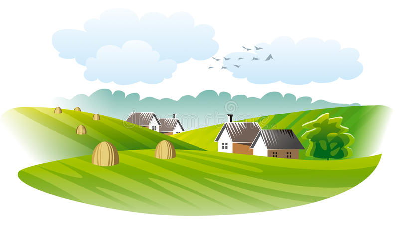 Download Village. Agriculture stock vector. Image of autumn, field - 25313904
