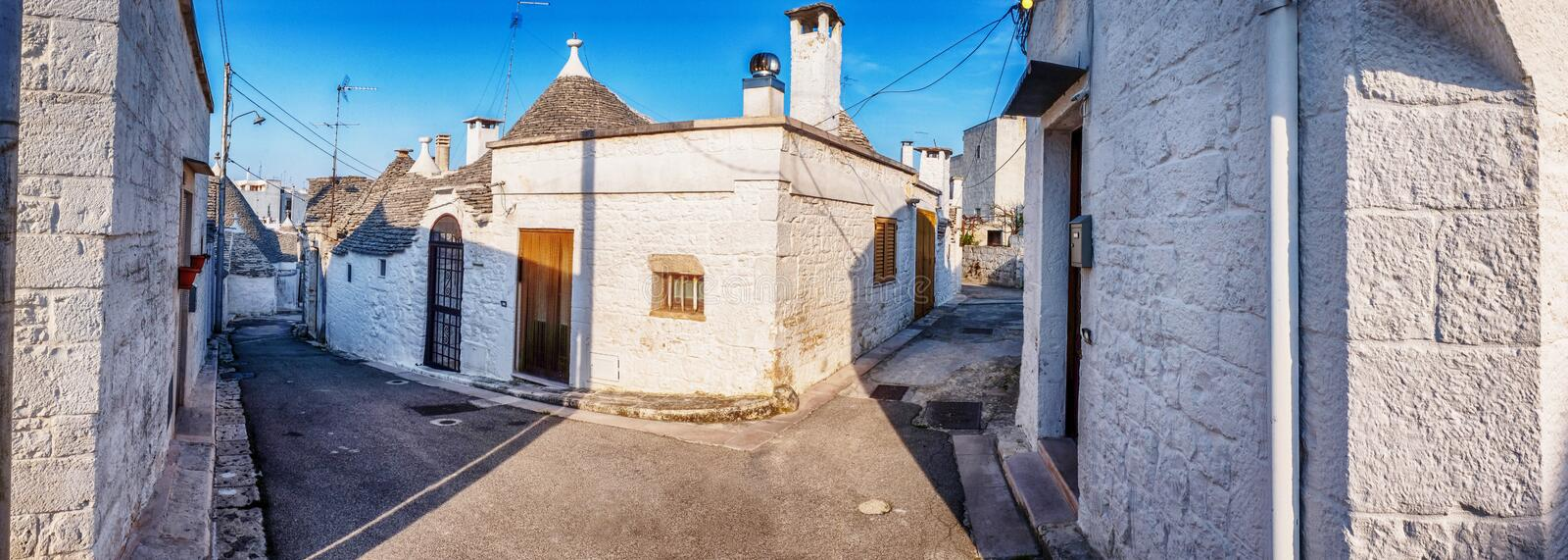 Village Alberobello with gabled trullo roofs, Puglia, Italy stock images