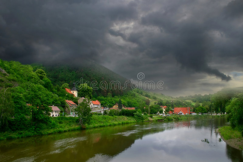 Download Village Along The River. Stock Images - Image: 1401684