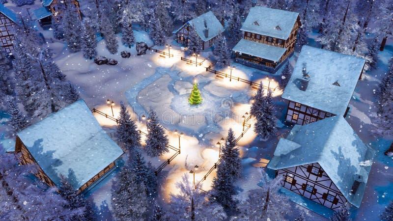 Village alpin à la vue supérieure neigeuse de nuit de Noël images stock