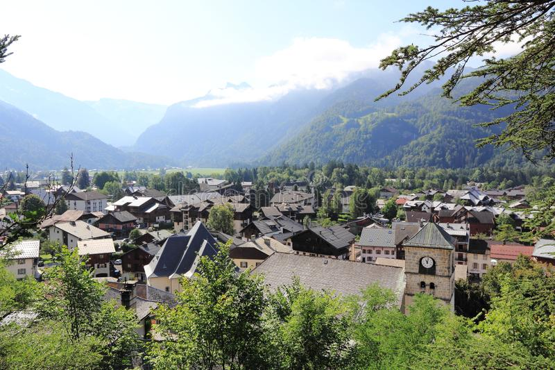 Samoens in the French Alps. Village in the Alps, Haute-Savoie stock images