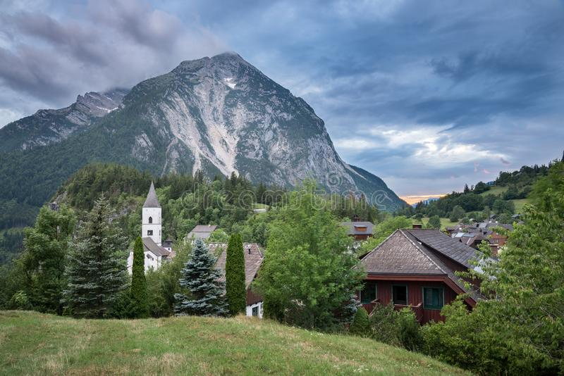 Village in the Alps at Sunset stock photography