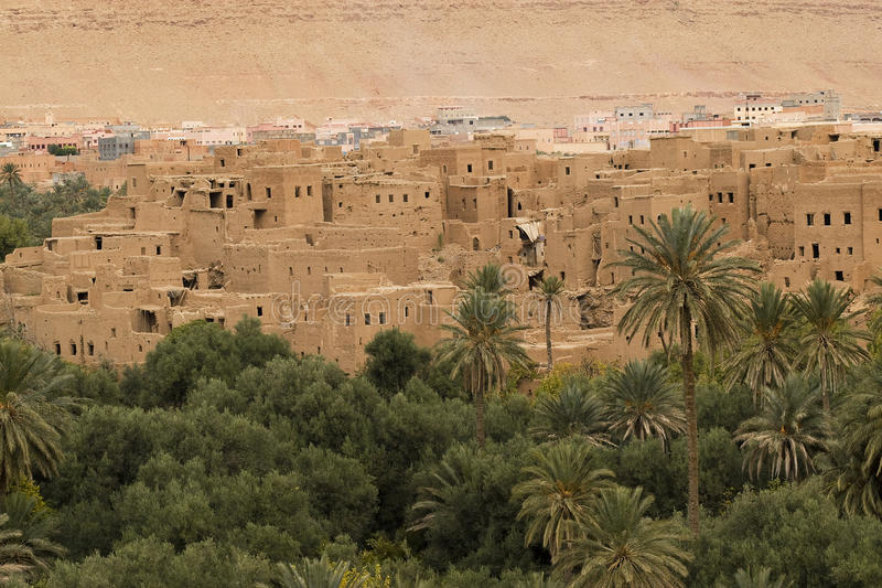 Village amongst palm and date trees royalty free stock images