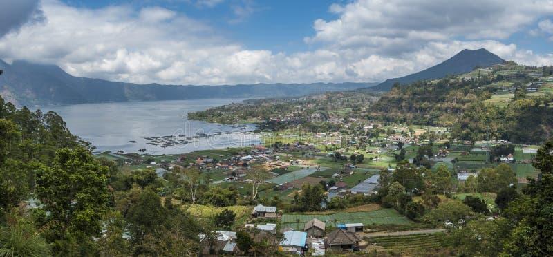 Village around the lake panorama royalty free stock photo