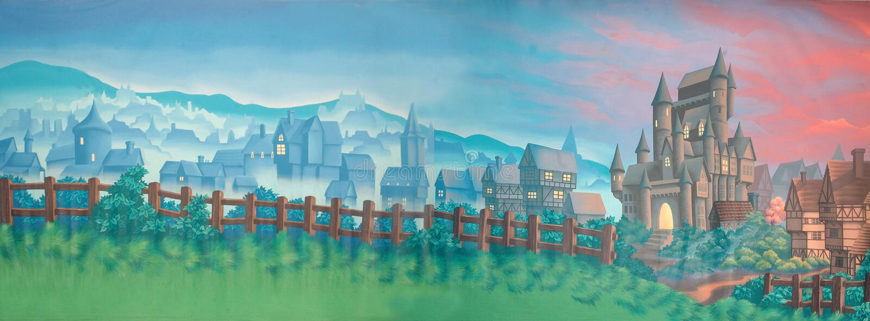 Village backdrop stock illustration
