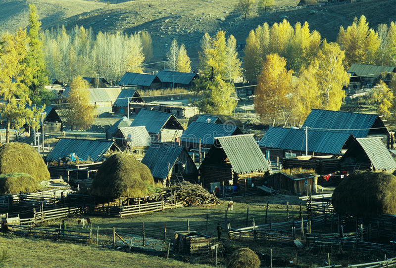 Village Baihaba, xinjiang, porcelaine d'automne image stock