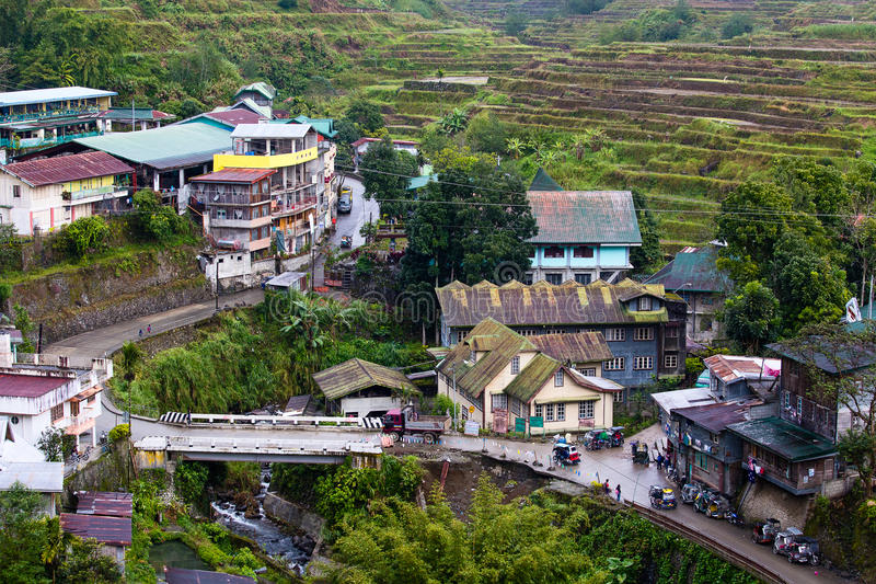 Village Banaue, Luçon du nord, province Philippines d'Ifugao image stock