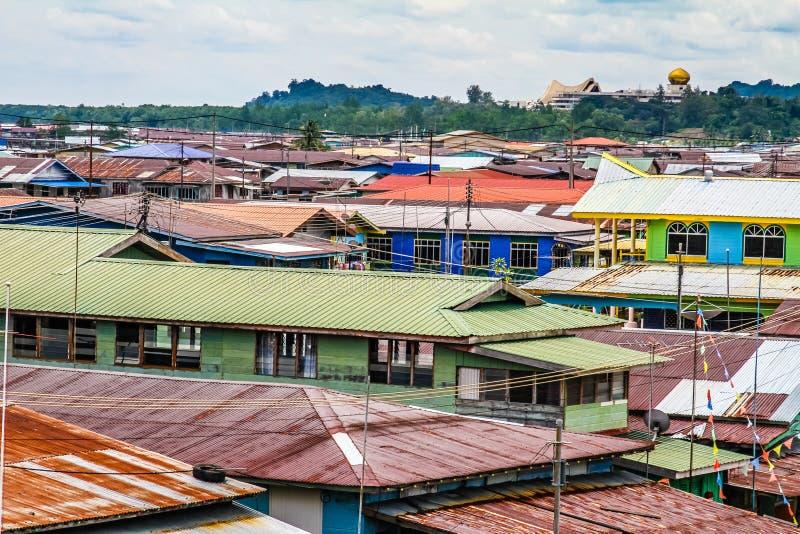 Village-Bandar coloré Seri Begawan, Brunei de l'eau image libre de droits