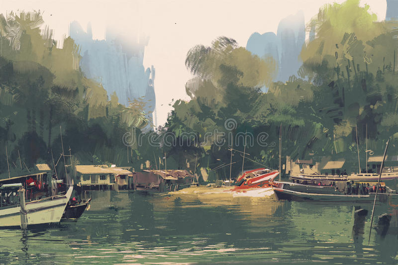 Village on the bank of river. Illustration painting royalty free illustration