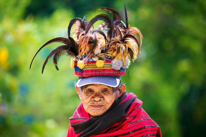 The village of Batad, Philippines March 3, 2015. Close-up portrait of an unknown old woman in national costume Ifugao tribe. stock photo