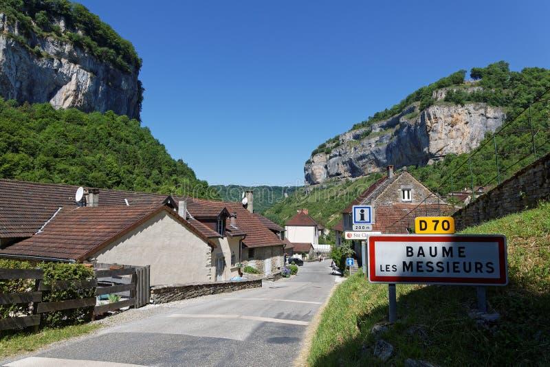 The village of Baume-les-Messieurs entrance stock image