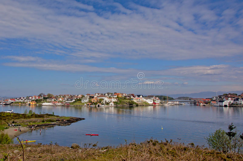 The village of Bjørnøy on an island in Norway stock photography