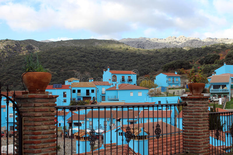 Download Village With Blue Houses Stock Photo - Image: 83720782