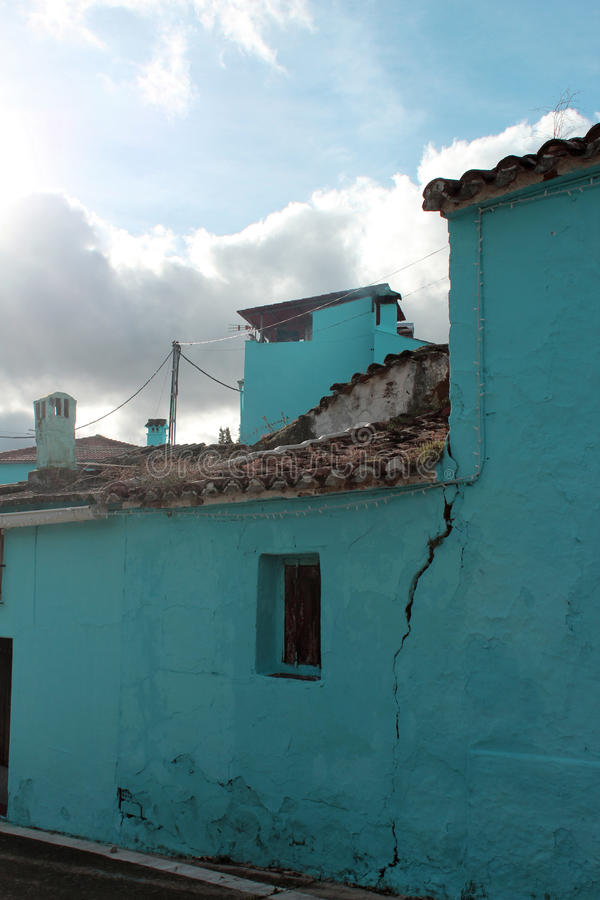 Download Village With Blue Houses Stock Photo - Image: 83724033