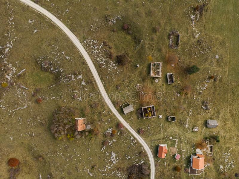 Village in Bosnia destroyed by war and bombing,Bosnia royalty free stock photography