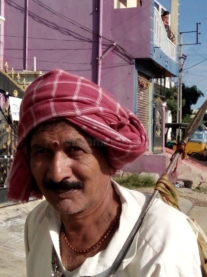 Village Brahmin. On festival day stock images