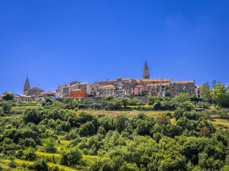 Village Buje in Istria, Croatia. View on Buje in the Mirna Valley, Istria, Croatia, Europe stock photo