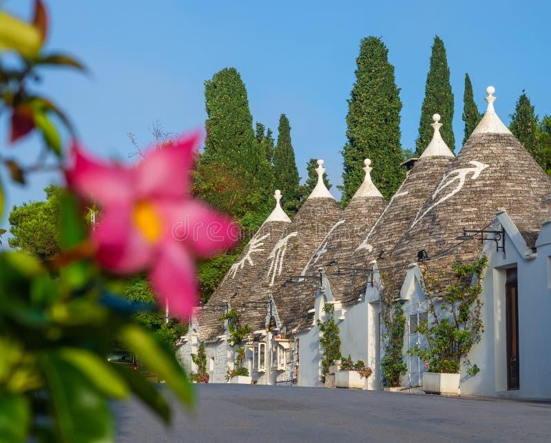 Village célèbre des toits coniques dans Alberobello photographie stock libre de droits