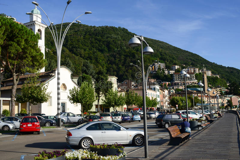 The village of Campione d'Italia on lake lugano royalty free stock images