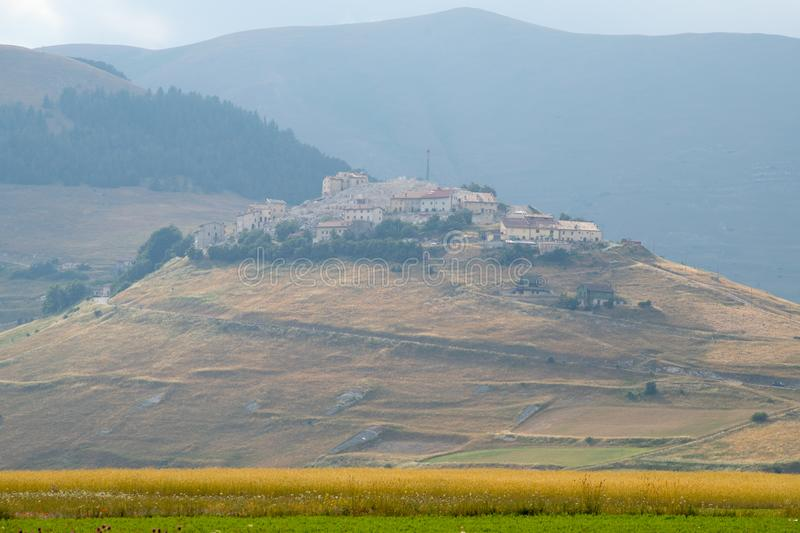 The village of Castelluccio di Norcia destroyed by the earthquake. Apennines, Italy. The village of Castelluccio di Norcia destroyed by the earthquake. Apennines royalty free stock image