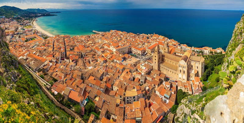 Village Cefalu from above stock photo
