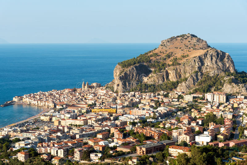 The village of Cefalu in Sicily stock images