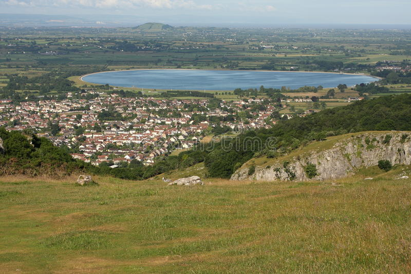 The village of Cheddar. Viewed form the Mendip Hills stock photo
