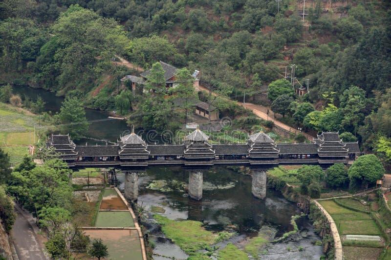 Village Chengyang, attractions touristiques de pont en bois dans le vici photos libres de droits