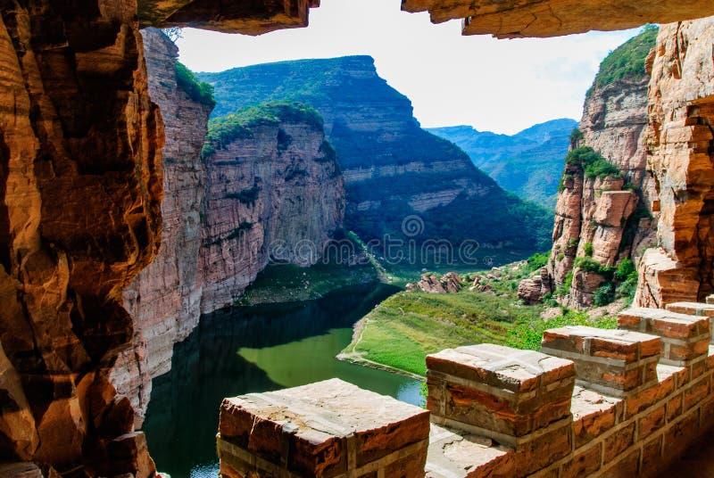 Village Chine de fossé de fossé de Dix gorges aucune gorge de jour dans la route de mur de ville de Xingtai de province de Hebei photos libres de droits