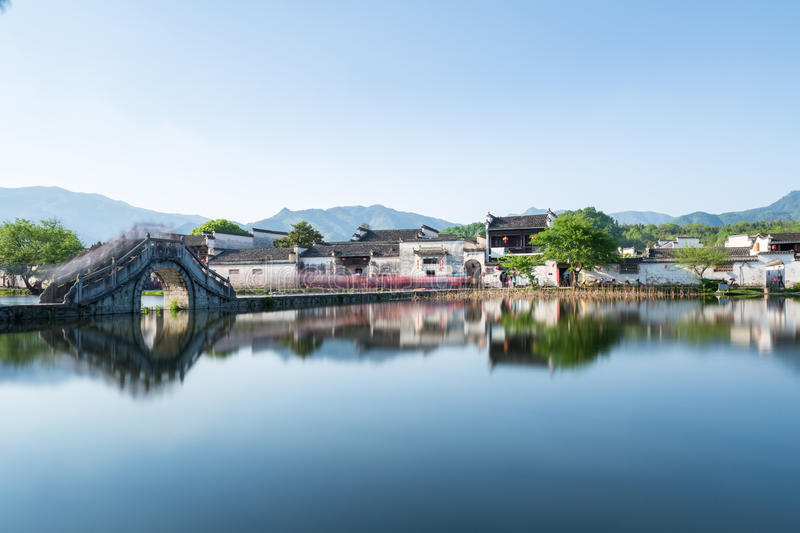A village in the chinese paintings royalty free stock photography