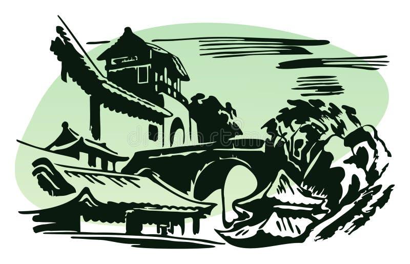 Village chinois illustration stock