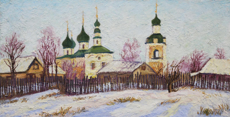 Village church. The picture rural Church in winter. Impasto oil painting stock illustration