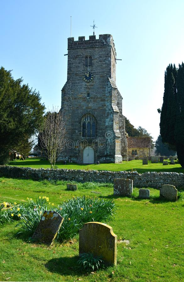 St John the Baptist Church, Ripe, Sussex. The village church of St John the Baptist lies in Ripe,  one of the closely spaced villages in the area between the royalty free stock photo