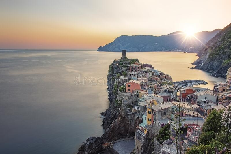 Village on the coast in Italy stock image