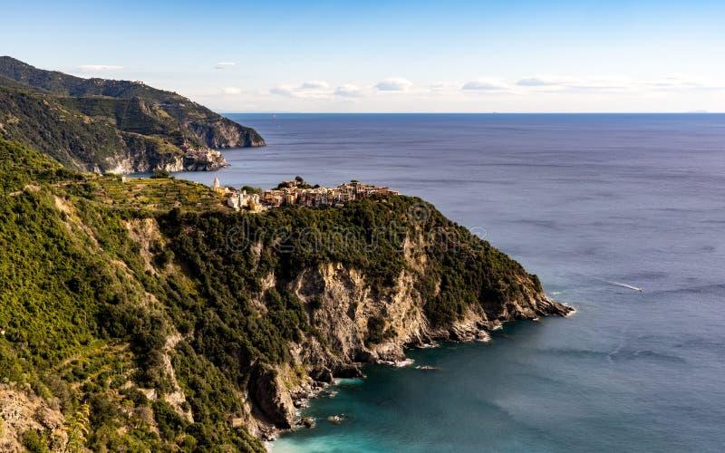 Village of Corniglia in Cinque Terre Italy stock photo