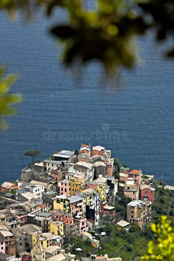 The village of Corniglia, Cinque Terre seen from a path on the hill overlooking the sea royalty free stock photo