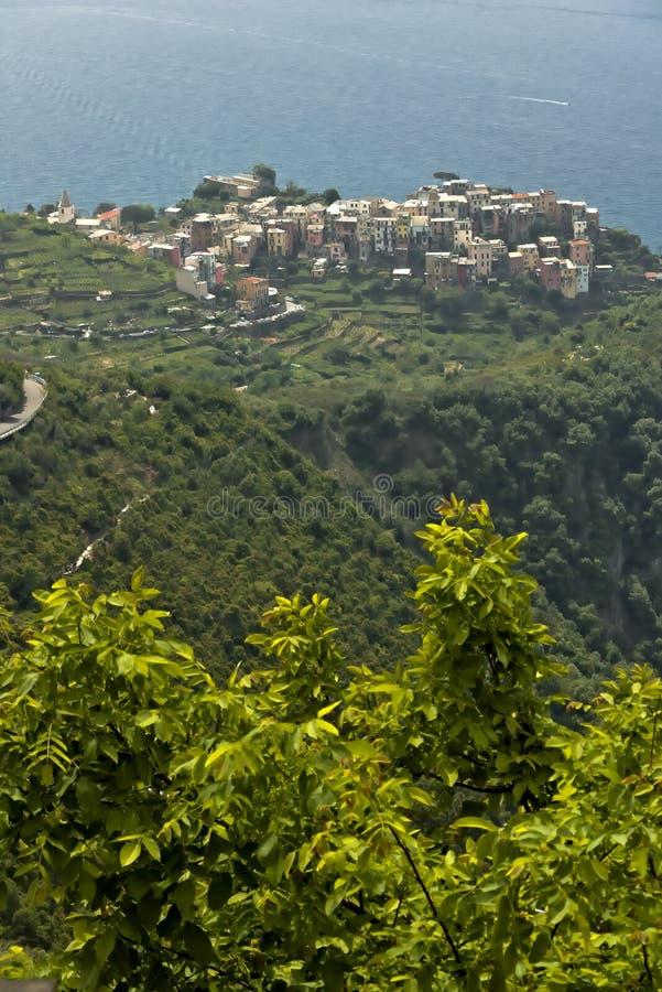 The village of Corniglia seen from the village of San Bernardino. Five lands stock photography
