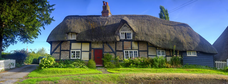 Village cottages in the picturesque village Southwick near Fareham in Hampshire, Verenigd Koninkrijk stock afbeelding