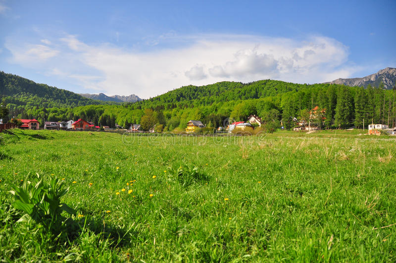 Village in countryside stock image