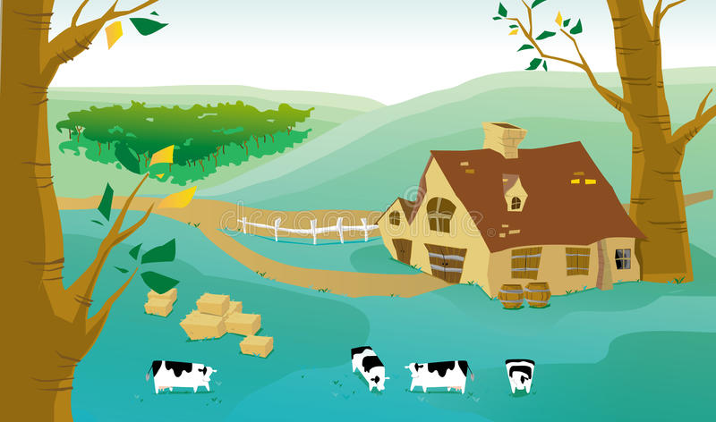 Download Village and cows on a farm stock illustration. Image of summer - 24287915