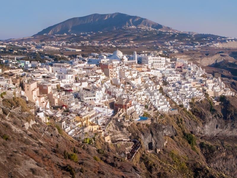 Village d'île de Santorin, Grèce sur la roche Oia, ville de Fira photo libre de droits