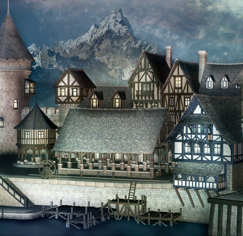 Village d'imagination dans les montagnes illustration stock